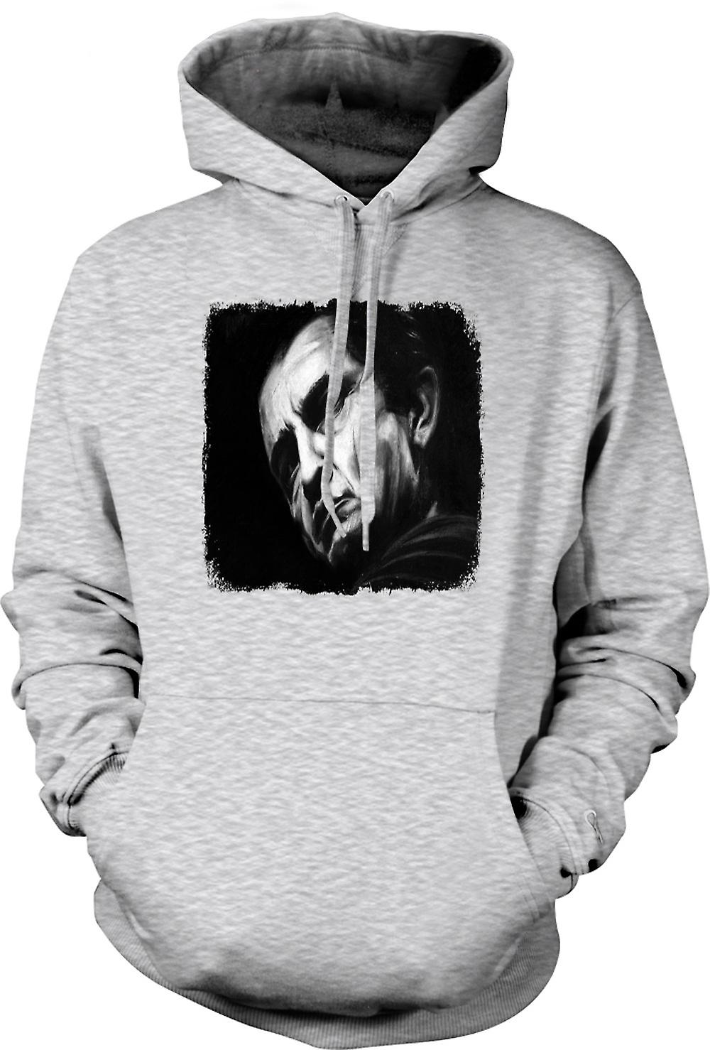 Mens Hoodie - Johnny Cash - Sketch - porträtt