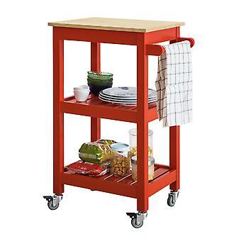 SoBuy rosso cucina deposito serve carrello portavivande carrello con ruote FKW67-R
