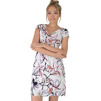 Lovemystyle White V-Neck Dress With Pink Floral Print
