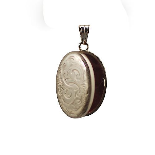 9ct Gold 27x20mm hand engraved oval Locket