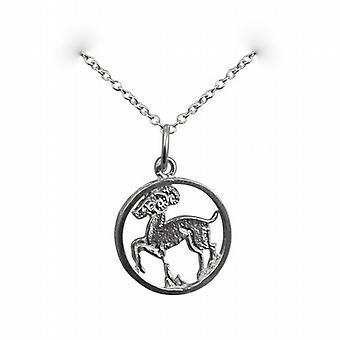 Argenté 11mm percés pendentif zodiaque Bélier avec un rolo chaîne 14 pouces convient uniquement pour les enfants