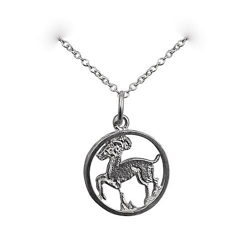 Silver 11mm pierced Aries Zodiac Pendant with a rolo Chain 18 inches