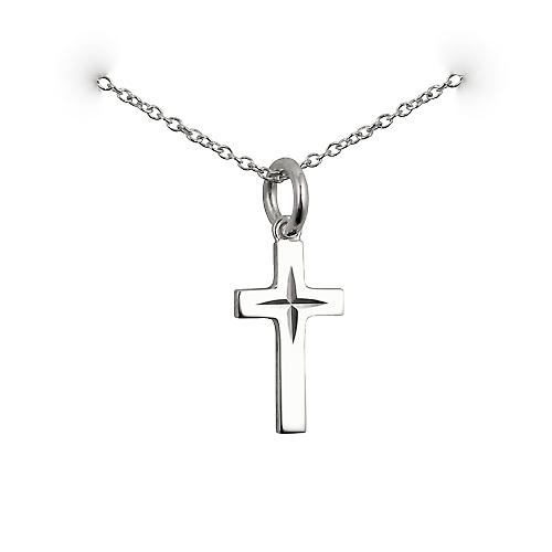 Silver 17x10mm diamond cut star solid block Cross with a rolo Chain 14 inches Only Suitable for Children