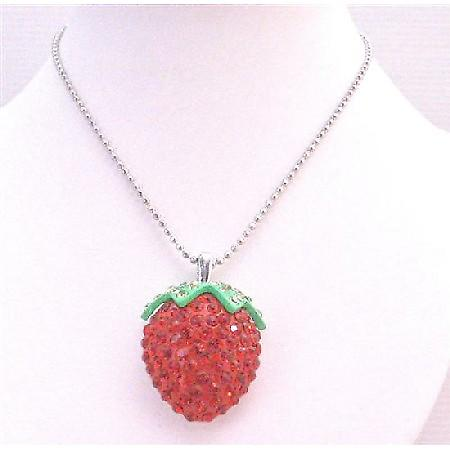 Strawberry Pendant Fully Embedded & Studded w/ Red Crystals Necklace