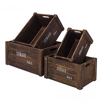 Set of 4 Wooden Containers Boxes Numbered Pickled Grey Shabby-Re4293-Rebecca's Furniture