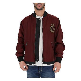 Dolce E Gabbana Burgundy Nylon Outerwear Jacket