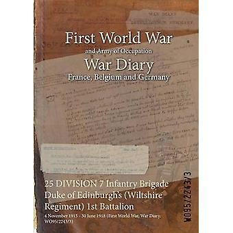 25 DIVISION 7 Infantry Brigade Duke of Edinburghs Wiltshire Regiment 1st Battalion  4 November 1915  30 June 1918 First World War War Diary WO9522433 by WO9522433