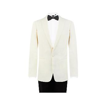 Dobell Mens White 2 Piece Tuxedo Regular Fit Notch Lapel Evening Dinner Suit Black Trousers