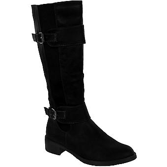 Ladies Low Heel Faux Leather Elasticated Side Women's Knee High Boots Shoes