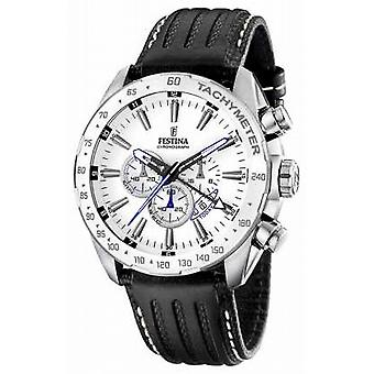 Festina Mens Stainless Steel White Dial Black Leather Strap Chrono F16489/1 Watch