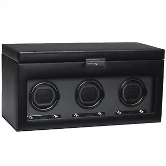 Wolf Designs Viceroy Black Leather & Grey Triple Watch Winder 2.7 With Storage