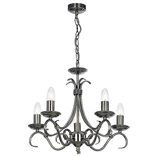 Endon 2030-5AS Traditional Antique Silver 5 Arm Ceiling Light