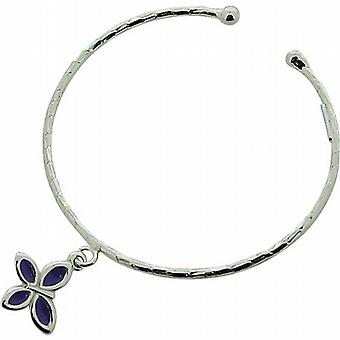 TOC Girls Sterling Silver Purple Butterfly Charm Torque Bangle