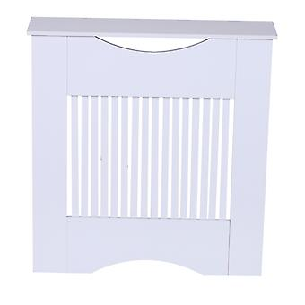 HOMCOM Painted MDF Radiator Cover Heater Cabinet Slatted Home Furniture Worktop White