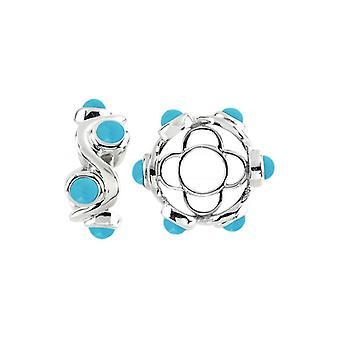 Storywheels Silver & Turquoise Cabochon Swirl Wheel S429TQ