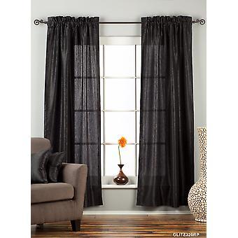 Black Rod Pocket Textured Curtain / Drape / Panel - 84