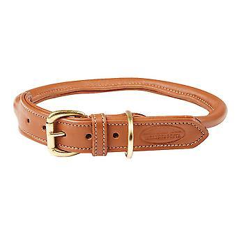 Weatherbeeta Rolled Leather Dog Collar - Tan