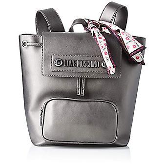 Love Moschino Bag Natural Grain Pu Backpack Women Grey (Fucile) 28x13x26 cm (W x H x L)