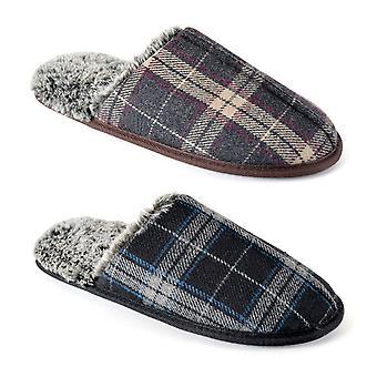 Mens/Gentlemens schoeisel gecontroleerd open terug mule slippers met Memory Foam zool, diverse kleuren & maten