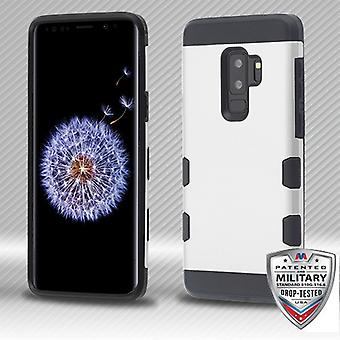 MYBAT Rubberized Space Silver/Black TUFF Trooper Hybrid Protector Cover for Galaxy S9 Plus