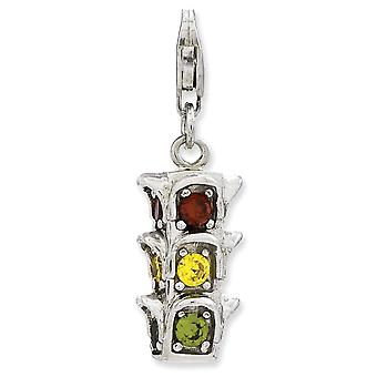 925 Sterling Silver Rhodium plaqué Fancy Lobster Closure 3-d Cubic Zirconia Traffic Light With Lobster Clasp Charm 925 Sterling Silver Rhodium-plaqué Fancy Lobster Closure 3-d Cubic Zirconia Traffic Light With Lobster Clasp Charm