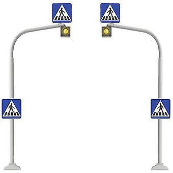 H0 2-piece set Pedestrian crossings + zebra crossing decal Busch 5916 Assembly kit