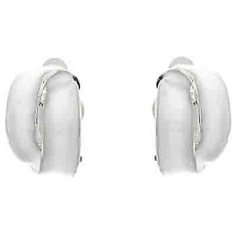Klip på øreringe butik hvid emalje overlappede Semi Hoop klip på øreringe