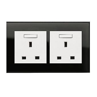 I LumoS AS Luxury Black Crystal Glass Double Switched Wall Plug 13A UK Sockets