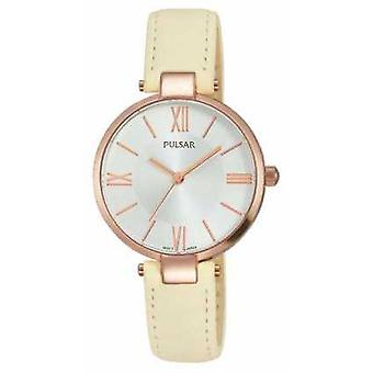 Pulsar Womens Cream Leather Strap Silver Dial PH8246X1 Watch