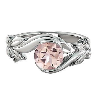 Natural peach/pink 1.50 CT VS Morganite Ring White Gold 14K Flower Leaves Designer