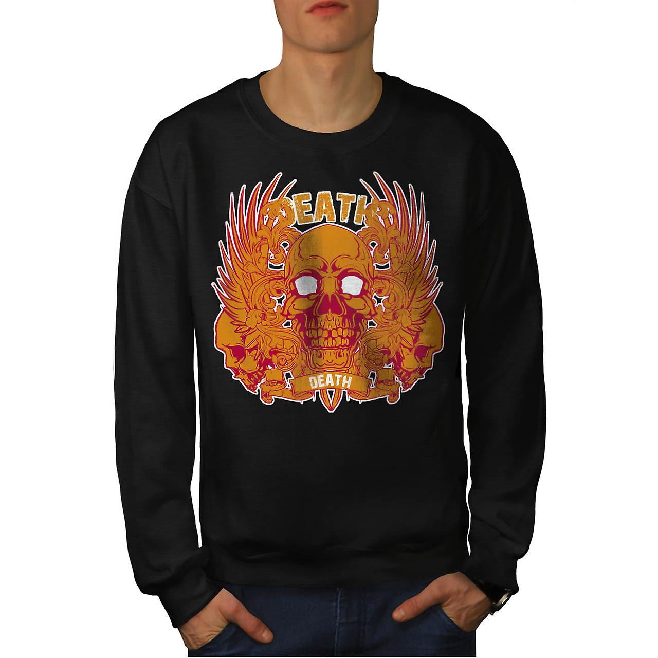 Monster Death Skull Flame Head Men Black Sweatshirt | Wellcoda