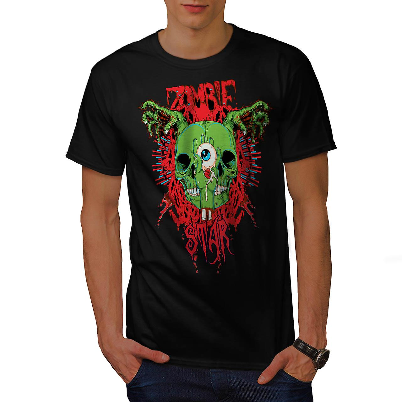 Monster Zombie Evil Star Night Men Black T-shirt | Wellcoda