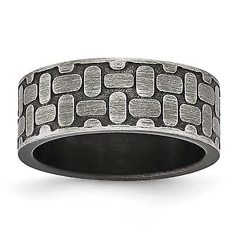 7.88mm Stainless Steel Brushed Antiqued Textured Ring - Ring Size: 7 to 13