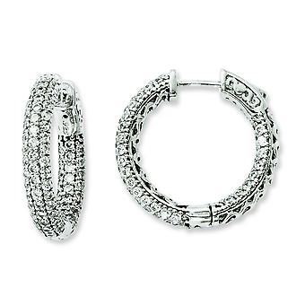 Sterling Silver Rhodium Plated CZ In and Out Hoop Earrings