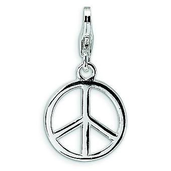 Sterling Silver Rhodium-plated Fancy Lobster Closure Small Polished Peace Sign With Lobster Clasp Charm - Measures 25x13