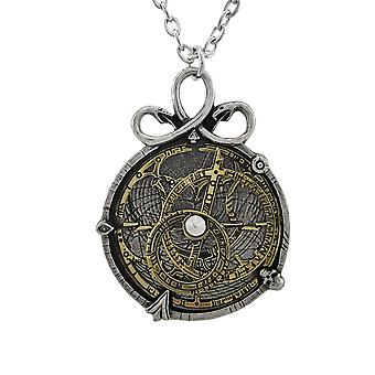 Alchemy Gothic Anguistralobe astrolabio colgante con collar