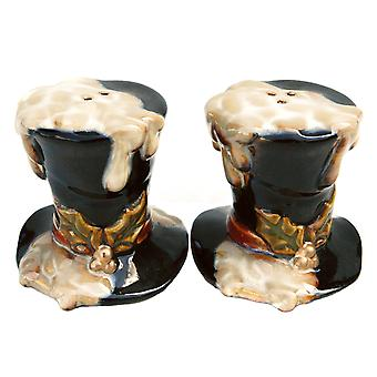 Snow Covered Top Hat Wintry Fun Salt and Pepper Shaker Set Ceramic