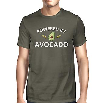Powered By Avocado Men's Dark Grey Crew Neck T Shirt Gifts For Him