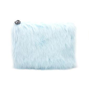 W7 Baby Blue Fluffy/Furry Large Cosmetic Toiletry Make Up Bag
