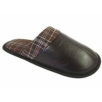 Mens New Cooler Synthetic Leather Mule With Cuff Detail Slipper