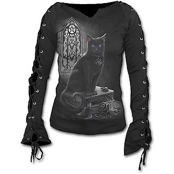 Spiral - WITCH CAT - Laceup Sleeve Top Black