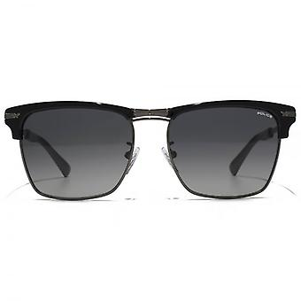 Police Square Clubmaster Style Sunglasses In Black Grey