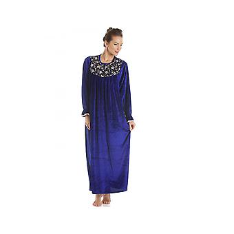 Camille Blue Full Length Velour Nightdress