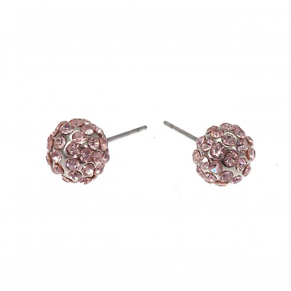 W.A.T Sparkling Pale Pink Crystal Glitterball Fashion Earrings