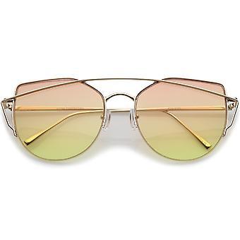 Women's Semi Rimless Metal Brow Bar Round Colored Flat Lens Cat Eye Sunglasses