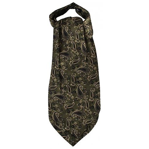 Knightsbridge Neckwear Paisley Silk Cravat - Dark Green