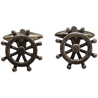 Zennor Boat Wheel Cufflinks - Rust Silver