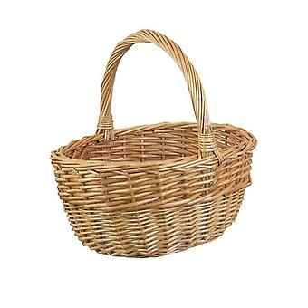 Large Buff Oval Shopping Basket