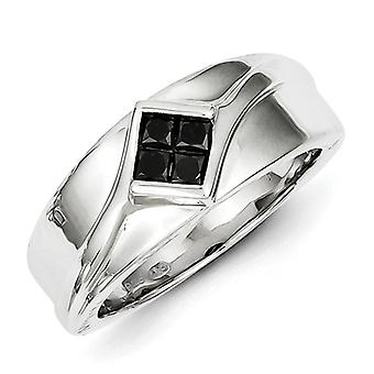 Sterling Silver Polished Gift Boxed Channel set Rhodium-plated Black Diamond Mens Ring - Ring Size: 10 to 11