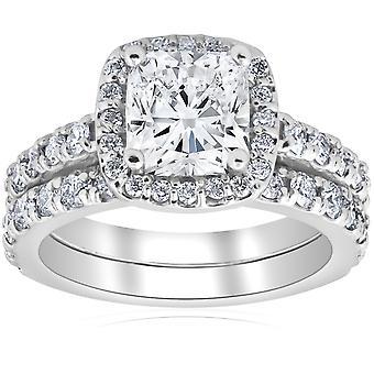 TC3 coussin Halo diamant Engagement bague de mariage ensemble 14k or blanc